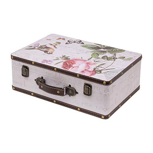 HMF VKO102 Vintage Koffer aus Holz | 38 x 26 x 13 cm | Groß | Deko Rose