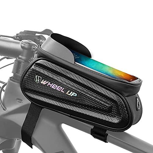 Sawpy Bolsa Para Cuadro de Bicicleta, Bolsa Impermeable Para Bicicleta, Bolsa Para Teléfono Inteligente de 7 Pulgadas, Bolsas Para Manillar MTB Para Bicicleta con Orificio Para Auriculares