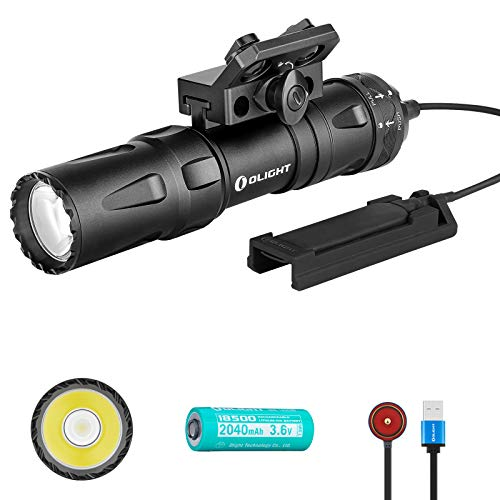 Olight Odin Mini 1250 Lumens Magnetic Rechargeable M-LOK Mount 18500 Tactical Flashlight with Quick Release Mount and Remote Switch, SKYBEN Battery Case Included (Black) Florida