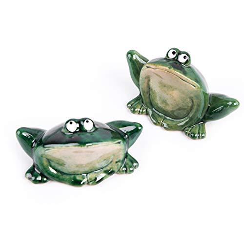 Logbuch-Verlag 2 Frösche dunkelgrün - Frosch Paar als Deko Geschenk Froschdeko Krafttier Kraftsymbol Glücksbringer Glücksfrosch