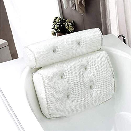 Flybloom Badewannenkissen,Komfort badewanne kopfkissen mit Saugnäpfen, badewanne nackenpolste für Home Spa Whirlpools, Luxus Badekissen Kopfstütze (Weiß)
