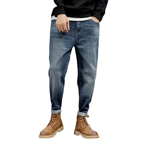 Jubaton Pantalones Vaqueros de harén para Hombre, Pantalones de harén de Ajuste Delgado elásticos Holgados de Gran tamaño, Retro Delgados, con Bolsillo 30
