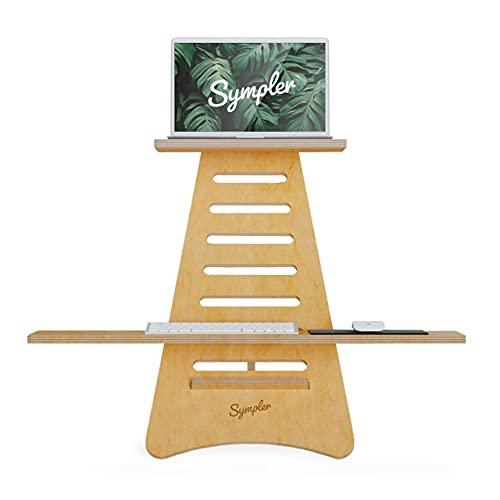 SYMPLER Höhenverstellbarer Schreibtischaufsatz aus nachhaltigem Holz | Laptop Ständer in Frankreich gefertigt | höhenverstellbarer Laptop Tisch Stehpult