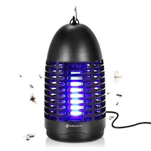 YUNLIGHTS Bug Zapper  Indoor Fly Mosquito Zapper 8W Electric Fly Killer with Hook Hanging Standing Mosquito Killer Lamp Indoor Flying Insect Trap for Indoor Use Black