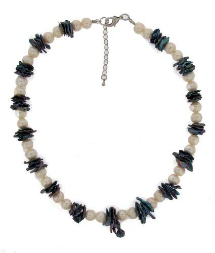 TF aussergewoehnliches Perlencollier mit grauen Perlmutt-Platten, Messing