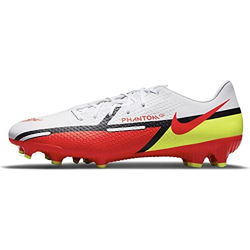 Nike Phantom Gt2 Academy FG/MG, Zapatos de fútbol Hombre, White/Bright Crimson-Volt, 45.5 EU