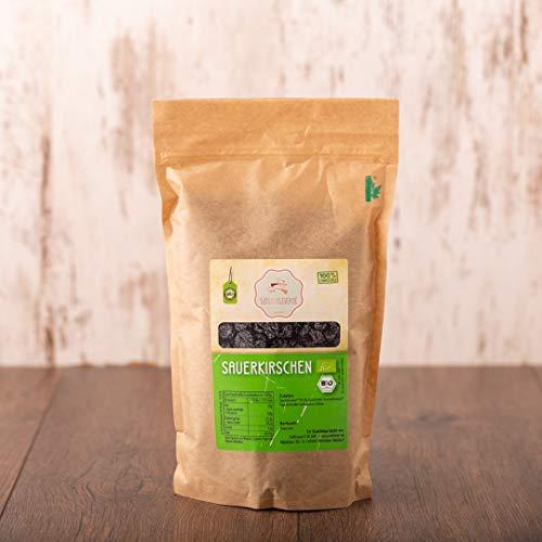 süssundclever.de® Bio Sauerkirschen | ganz | getrocknet | entsteint | 1 kg Füllmenge und in ökologisch-nachhaltiger Bio-Verpackung.