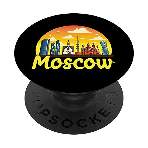 Moscow City Skyline Kremlin Soviet CCCP USSR Travel Russia PopSockets PopGrip: Swappable Grip for Phones & Tablets