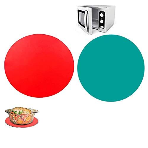 2 Pezzi Pad in Silicone per Microonde, Tappetino per Microonde in Silicone, Tappetino per Microonde Multiuso in Silicone, Tappetino da Forno Resistente al Calore Microonde Mat , Rosso, Verde, 30 cm