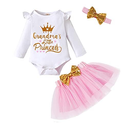 Newborn Baby Girls Skirt Set Infant Grandma's Princess Romper Bodysuit Tutu Skirt Headband Outfit Clothes (Pink, 3-6 Months)