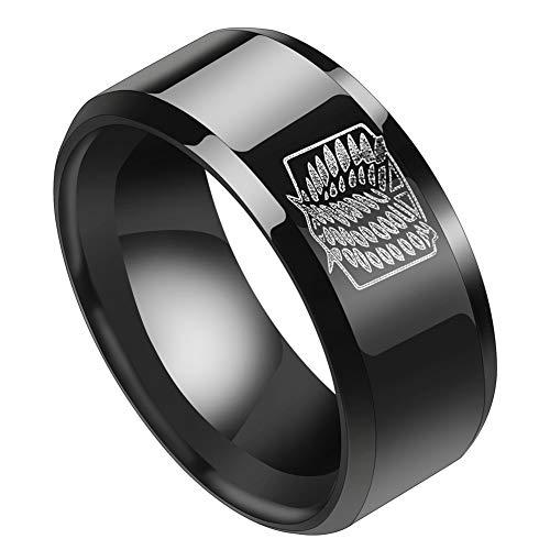 Yuxareen Anime Attack On Titan Edelstahl Ring für Männer Scout Regiment Flügel Gravierte Fingerring Modeschmuck mit Kette Anime Fans Geschenke( #12 Black)