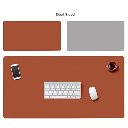K-Flame PU Leather Desk Pad Office Desk Comfortable Writing Mat Writing Gaming Mouse Pad Surface Waterproof-120x50cm Brown + Gray