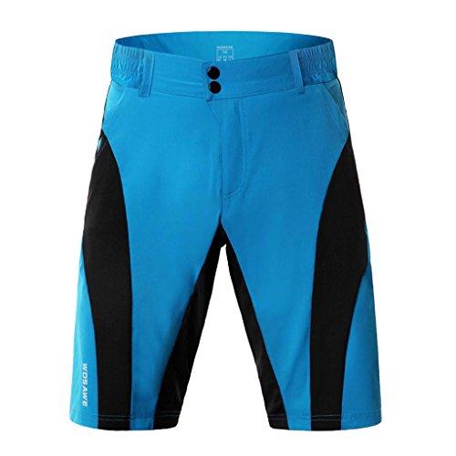 HomeDecTime Pantalones Cortos de Ciclismo para Hombre, Montaña, MTB, Bicicleta de Carretera, Montar en Bicicleta, Correr, Pantalones Cortos con Cremallera, Resist - Azul, L