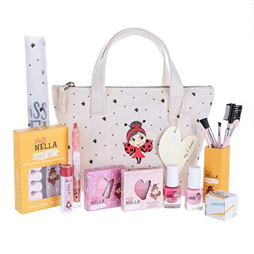 MISS NELLA edición Especial Bag of Wonder Set de Maquillaje y Esmalte de uñas para niñas pequeñas, hipoalergénico, Probado dermatológicamente, no tóxico, Bolsa de Lona, Seguro y Divertido