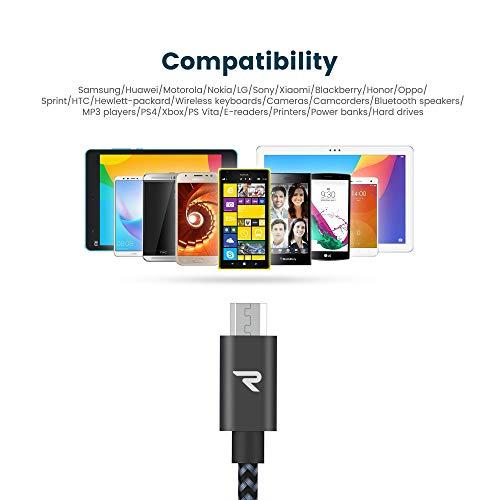 RAMPOW Micro USB Kabel, 2M/2-Stücke, mit Nylon Geflochtenes USB Micro Ladekabel Kompatibel für Android Smartphones, Samsung Galaxy, Huawei, Sony, Nexus, Nokia, Kindle und Mehr - Space Grau