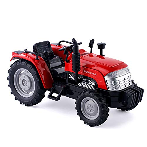 QqHAO Children's Farm Vehee Round Tractor Farmer's Car, 1:32 Alloy Sound and Light Model Light's Toy,Rojo