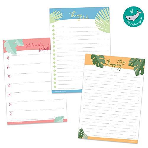 To Do Liste, Wochenplaner und Einkaufsliste | 3-er Set DIN A5 Notizblock je 50 Blatt | bunt mit stylischen Blättermotiven