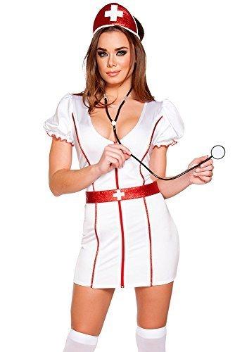 The Good Life 3 Pièce Sexy infirmière Costume Robe Ceinture et Chapeau Taille 38-40