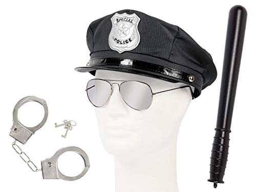 Set di Travestimento da Poliziotto   Nero   KV-123   4 Pezzi   Cappello, Occhiali da Sole, Manette, Manganello   per Carnevale   Halloween   Festa a Tema   Adulti   Uomo   Donna