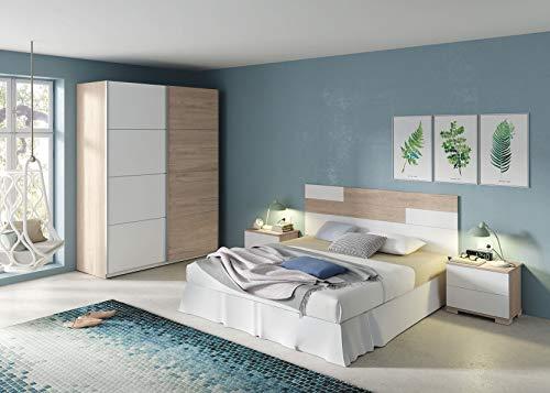 Miroytengo Pack Muebles habitación Matrimonio Onix Color Blanco y Roble Camas 150 cm (Cabecero+Mesitas+Armario)