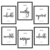Inspirational Wall Art - Motivational Wall Decor for Bedroom/ Living Room/ Classroom/ Office - Positive Quotes & Sayings - Daily Affirmation for Men/Women/Teen/kids - Ideal Gift Choice (8X10In, Set of 6, Unframed)