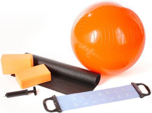 Ultrasport Yogaset 6-teilig mit Ball, Yogamatte, Pumpe, 2 Yogablöcke & Latexband - Starterset mit Zubehör für Yoga & Pilates - Fitness Starter Set für Zuhause