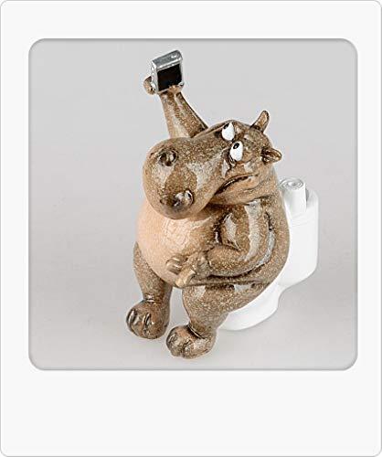 formano Dekofigur Nilpferd Hugo auf Toilette H. 16cm Natur braun