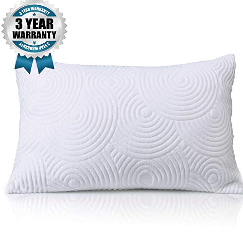 Shredded Memory Foam Bed Pillow for Sleeping - Thick Thin Adjustable Cool Cooling Pillowcases for Side Back Sleepers - Soft Firm Neck Pain Support - Best Home Bedding Gift Men Women Sleep, Queen Size