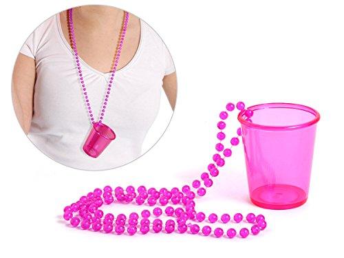 Alsino Schnapsglas mit Kette Pinnchen an Perlenkette JGA Junggesellenabschied Accessoire Outfit Schnapsbecher Shots Trinkglas Unterwegs, Variante wählen:LG9609 pink
