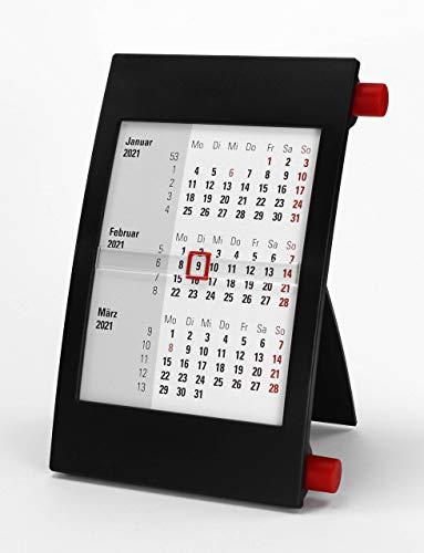 HiCuCo 3-Monats-Tischkalender für 2 Jahre (2021 und 2022) - Aufstellkalender - mit Drehmechanik - schwarz/rot - TypD2