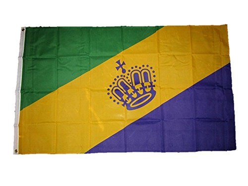 3x5 Mardi Gras Crown King Queen Flag 3'x5' Brass Grommets Vivid Color and UV Fade Resistant Canvas Header and polyester material