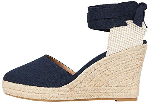 Marchio Amazon - find. Wedge Close Toe Canvas Sandalo Espadrillas con Zeppa, Blau (Blue), 41 EU
