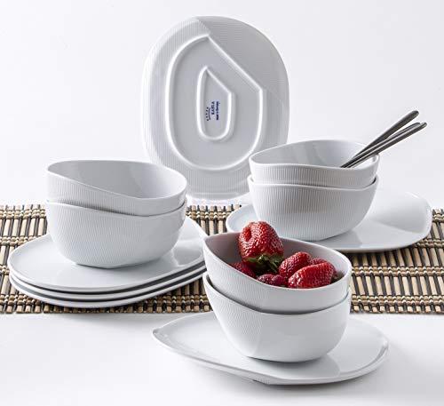 Kahla 02G240A90002C O - The Better Place Dessertset Set 6 x Müslischale 6 x Platte oval Frühstücksset modern weiß Porzellan 6 Personen 12 teilig