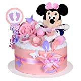MomsStory - Windeltorte Mädchen | Minnie Mouse Disney | Baby-Geschenk zur Geburt Taufe Babyshower | 1 Stöckig (Rosa) mit Plüschtier Lätzchen Schnuller & mehr