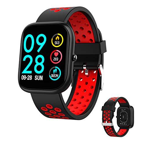 RNNTK Fitness Tracker Dama Smartwatch, Ip67 Es Resistente Al Agua Smartwatch Fitness Tracker Tomar El Marcapasos Monitor De Sueño Reloj Inteligente Bluetooth para iOS Android-Negro
