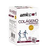 AMLsport - Colágeno con magnesio + VIT C – 20 sticks (sabor fresa). Articulaciones fuertes. Regenerador de tejidos con colageno hidrolizado tipo 1 y 2. Envase para 20 días de tratamiento.