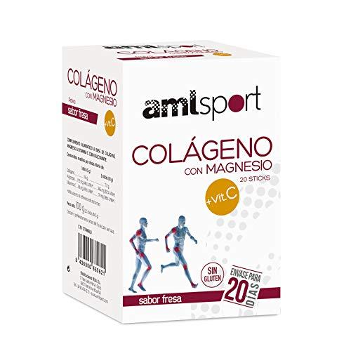 AMLsport - Colágeno con magnesio + VIT C – 20 sticks (sabor fresa). Articulaciones fuertes. Regenerador de tejidos con colágeno hidrolizado tipo 1 y 2. Envase para 20 días de tratamiento.