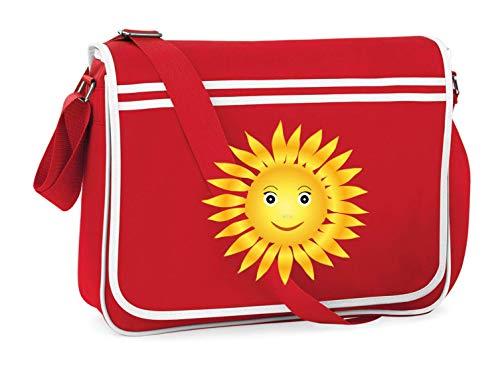 Druckerlebnis24 Schultertasche - Sonne Solar Helios Glücklich - Umhängetasche, geeignet für Schule Uni Laptop Arbeit