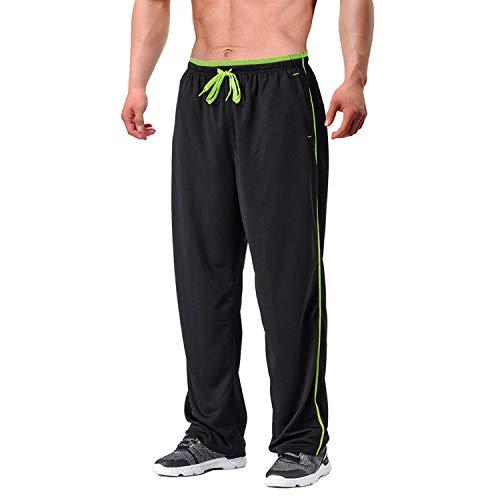 EKLENTSON Herren Streetwear Mesh Futter Pants Atmungsakiv Jogging Hose Trainingshose Fußballhose Schwarz Grün, 2XL
