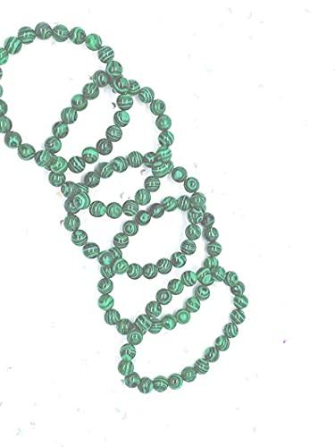 Pulsera de malaquita, 6 mm, perlas de malaquita, piedras naturales, chakra del corazón, pulsera con signo del zodiaco de Tauro, pulsera escorpión