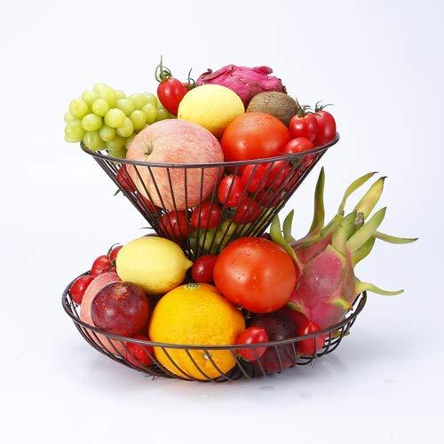 GuangYang - Fruttiera a 2 livelli, installazione libera, design dalle linee morbide, supporto per frutta, pane, verdure, uova, snack, colore: nero/bianco/bronzo