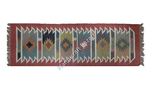 Select - Alfombra turca kilim de lana india de yute tejida a mano alfombra decorativa para piso de cocina, pasillo, decoración del hogar 2.5x6' (75x180 CM) Rojo