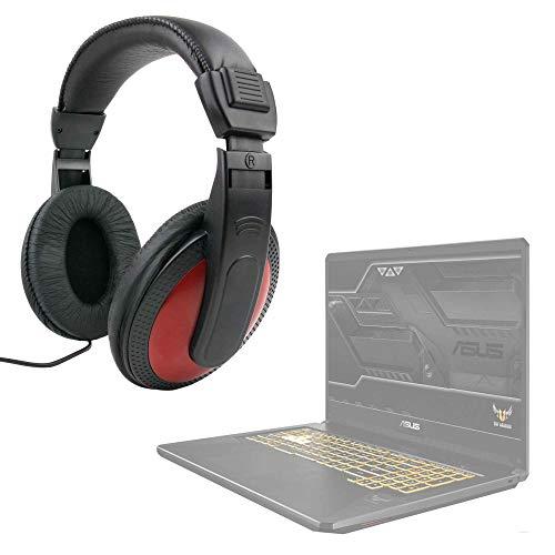 DURAGADGET Auriculares De Diadema Compatible con Portátil ASUS TUF Gaming FX705GM-EV020 - Negro Y Rojo - con Cable De 2 Metros Y Conexión Jack De 3.5mm