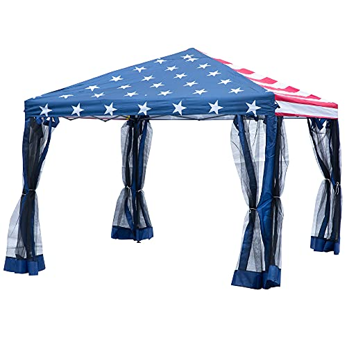 Outsunny 10' x 10' Pop Up Canopy with Removable Mesh Sidewalls, Easy Setup Design, Outdoor Shelter Tent Gazebo with Travel Storage Bag, American Flag
