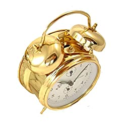 Sternreiter Double Bell Mechanical Wind Alarm Clock - Gold