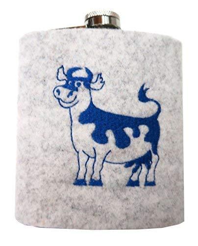 Alptraum Flachmann mit Filzbezug Kuh hellgrau 200 ml