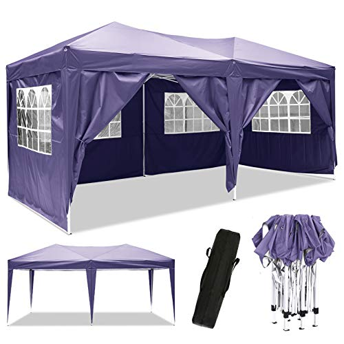 Laiozyen 3 x 6 m Waterproof Pop Up Gazebo Marquee Water Resistant Tent with Side Panels & Storage Bag for Outdoor Wedding Garden Party (Purple)