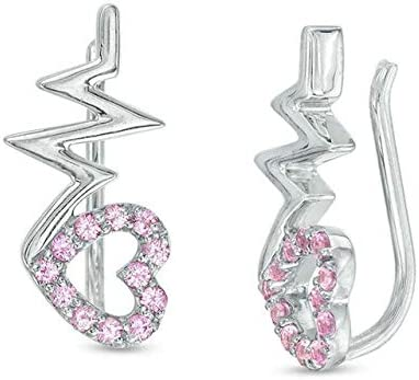 Heart In stock With Heartbeats Created Pink 14K Sapphire Cuff Crawler Under blast sales Ear