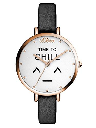 s.Oliver Damen Analog Quarz Armbanduhr mit Leder Armband SO-3532-LQ
