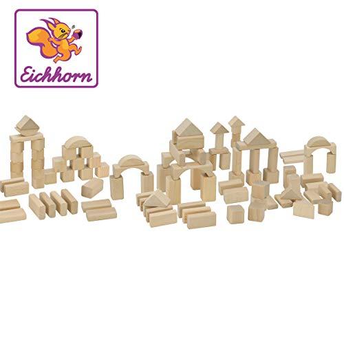 Eichhorn 100 naturfarbene Holzbausteine in der Trommel zur Aufbewahrung, FSC 100% zertifiziertes Buchenholz, Holzbausteine hergestellt in Deutschland, Motorikspielzeug geeignet für Kinder ab 1 Jahr